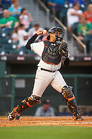 Norfolk Tides catcher Francisco Pena (29) throws down to second during a game against the Buffalo Bisons on July 18, 2016 at Coca-Cola Field in Buffalo, New York.  Norfolk defeated Buffalo 11-8.  (Mike Janes/Four Seam Images)