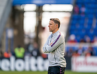 HARRISON, NJ - MARCH 08: Phil Neville of England watches his team during a game between England and Japan at Red Bull Arena on March 08, 2020 in Harrison, New Jersey.