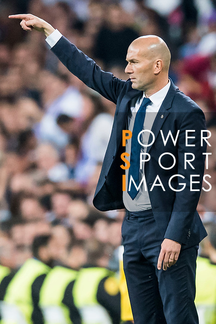 Coach Zinedine Zidane of Real Madrid gestures during their 2016-17 UEFA Champions League Semifinals 1st leg match between Real Madrid and Atletico de Madrid at the Estadio Santiago Bernabeu on 02 May 2017 in Madrid, Spain. Photo by Diego Gonzalez Souto / Power Sport Images