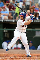 Buffalo Bisons first baseman Brett Wallace (14) at bat during a game against the Pawtucket Red Sox on August 26, 2014 at Coca-Cola Field in Buffalo, New  York.  Pawtucket defeated Buffalo 9-3.  (Mike Janes/Four Seam Images)