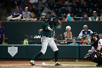 Yoyner Fajardo (32) of the Greensboro Grasshoppers at bat against the Winston-Salem Dash at Truist Stadium on August 13, 2021 in Winston-Salem, North Carolina. (Brian Westerholt/Four Seam Images)
