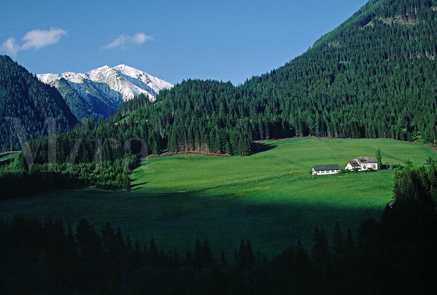 FARM HOUSE & PASTURE with snow capped peak as background - AUSTRIA