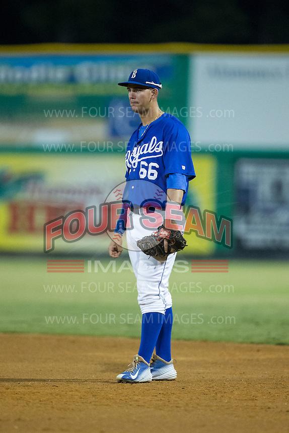 Burlington Royals first baseman Brandon Thomasson (66) on defense against the Greeneville Astros at Burlington Athletic Park on August 29, 2015 in Burlington, North Carolina.  The Royals defeated the Astros 3-1. (Brian Westerholt/Four Seam Images)