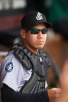 Jackson Generals catcher Carlton Tanabe (55) in the dugout during a game against the Montgomery Biscuits on April 29, 2015 at Riverwalk Stadium in Montgomery, Alabama.  Jackson defeated Montgomery 4-3.  (Mike Janes/Four Seam Images)