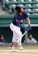 Third baseman Brandon Howlett (35) of the Greenville Drive in the completion of a suspended game against the Asheville Tourists on Tuesday, August 31, 2021, at Fluor Field at the West End in Greenville, South Carolina. (Tom Priddy/Four Seam Images)