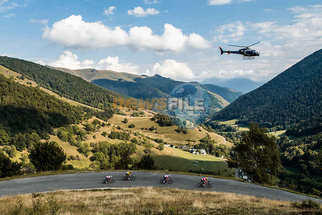 The peloton descend Port de Balès during Stage 8 of Tour de France 2020, running 141km from Cazeres-sur-Garonne to Loudenvielle, France. 5th September 2020. <br /> Picture: ASO/Alex Broadway | Cyclefile<br /> All photos usage must carry mandatory copyright credit (© Cyclefile | ASO/Alex Broadway)