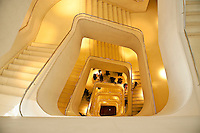Modern staircase in the Caixa Forum museum, Madrid, Spain