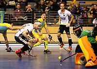 Christopher Ruehr, Marco Miltkau, goalkeeper Yerzhan Yelubayev /   /        /   <br /> / Sport / Hockey Hnhockey / World Championships Weltmeisterschaft  /  2017/2018 / 07.02.2018 / GER BRGermany vs. Kasachstan  *** Local Caption *** © pixathlon<br /> Contact: +49-40-22 63 02 60 , info@pixathlon.de