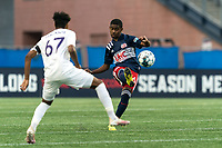 FOXBOROUGH, MA - AUGUST 7: Maciel #6 of New England Revolution II clears the ball during a game between Orlando City B and New England Revolution II at Gillette Stadium on August 7, 2020 in Foxborough, Massachusetts.