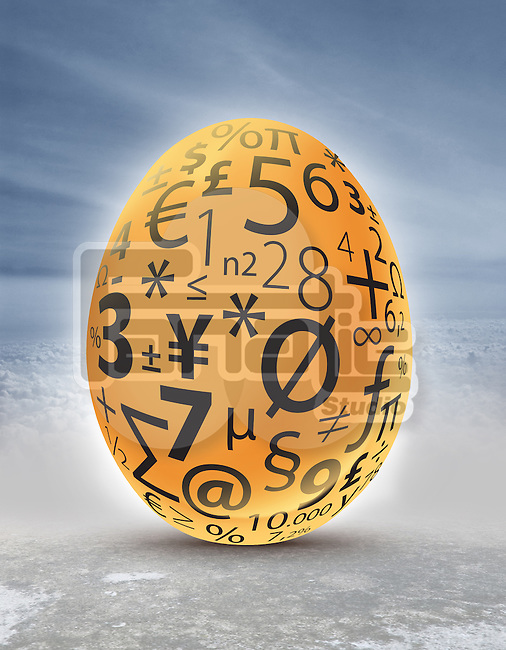 Illustrative image of golden egg with currency and mathematical symbols representing investment and profit