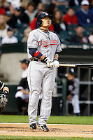 August 7, 2009:  Right Fielder Shin-Soo Choo (17) of the Cleveland Indians is hit by a pitch during a game vs. the Chicago White Sox at U.S. Cellular Field in Chicago, IL.  The Indians defeated the White Sox 6-2.  Photo By Mike Janes/Four Seam Images