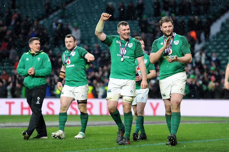 Peter O'Mahony and Iain Henderson of Ireland (L-R) celebrate winning the Triple Crown and Grand Slam after the NatWest 6 Nations match between England and Ireland at Twickenham Stadium on Saturday 17th March 2018 (Photo by Rob Munro/Stewart Communications)