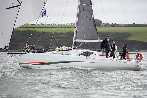 The Sun Fast 3300 Cinnamon Girl of Kinsale finishing the 2020 Fastnet 450 in the entrance to Cork Harbour. She'll be raced two-handed in the Fastnet Race 2021 by owner Cian McCarthy of KYC and clubmate Sam Hunt.