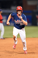 Memphis Redbirds outfielder Stephen Piscotty (33) running the bases during a game against the Oklahoma City RedHawks on May 23, 2014 at AutoZone Park in Memphis, Tennessee.  Oklahoma City defeated Memphis 12-10.  (Mike Janes/Four Seam Images)