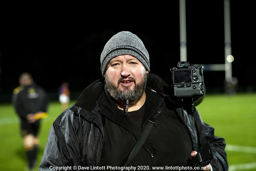 Photographer Dave Brownlie at the Wellington 1st XV girls secondary schools premier one rugby final between St Mary's College and Tawa College at Porirua Park in Wellington, New Zealand on Wednesday, 16 September 2020. Photo: Dave Lintott / lintottphoto.co.nz