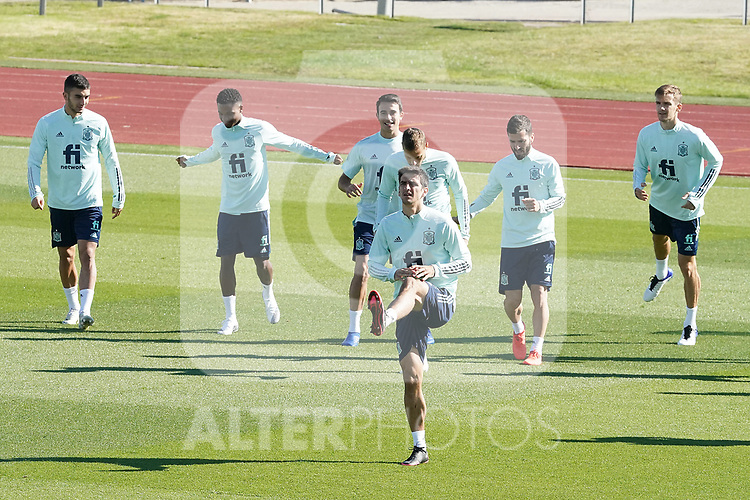 Spain's Ferran Torres, Ansu Fati, Eric Garcia, Sergio Canales, Jose Luis Gaya, Diego Llorente and Gerard Moreno during training session. October 6,2020.(ALTERPHOTOS/Acero)