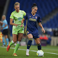 30th August 2020, San Sebastien, Spain;  Lucy Bronze of Lyon holds off Fridolina Rolfo of VfL Wolfsburg during the UEFA Womens Champions League football match Final between VfL Wolfsburg and Olympique Lyonnais.