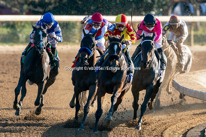 November 6, 2020: Horses race during the Juvenile Fillies on Breeders' Cup Championship Friday at Keeneland on November 6, 2020: in Lexington, Kentucky. /Dan Heary/Breeders' Cup/Eclipse Sportswire/CSM