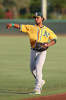 Jesus Lopez #2 of the AZL Athletics during a game against the AZL Dodgers at Camelback Ranch on July 12, 2014 in Glendale, Arizona. AZL Athletics defeated the AZL Dodgers, 3-2. (Larry Goren/Four Seam Images)