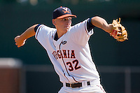 Starting pitcher Cody Winiarski #32 of the Virginia Cavaliers in action against the Virginia Commonwealth Rams at the Charlottesville Regional of the 2010 College World Series at Davenport Field on June 4, 2010, in Charlottesville, Virginia.  The Cavaliers defeated the Rams 14-5.  Photo by Brian Westerholt / Four Seam Images