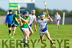 Lixnaw's Chris O'Sullivan effort about to blocked by Niall Cassidy of Tralee Parnells in the U16 Hurling plate final.