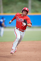 Philadelphia Phillies Yahir Gurrola (21) runs the bases during an Instructional League game against the Toronto Blue Jays on October 7, 2017 at the Englebert Complex in Dunedin, Florida.  (Mike Janes/Four Seam Images)
