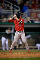 Lowell Spinners Alex Erro (57) at bat during a NY-Penn League Semifinal Playoff game against the Batavia Muckdogs on September 4, 2019 at Dwyer Stadium in Batavia, New York.  Batavia defeated Lowell 4-1.  (Mike Janes/Four Seam Images)