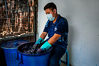A Salvadoran textile dyer immerses a wrapped cloth into the indigo dye bath kept in an artisanal clothing workshop in Santiago Nonualco, El Salvador, 6 April 2018. For centuries, indigo, a natural deep blue dye extracted from the leaves of tropical plants, has been known to the native indigenous inhabitants of Central America. Nowadays, a growing demand for handmade, nature-based products has has permitted the emergence of various clothing workshops and cooperatives. Employing traditional design techniques and inspired by the ancient Mayan artists, they produce fashion collections, clothing accessories or decorative items on a sustainable, small scale basis.
