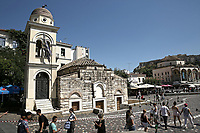 Pictured: Part of the Pantanassa Church in Monastiraki Square has been damaged in Athens, Greece. Friday 19 July 2019<br /> Re:A 5.3-magnitude has struck Greece, 14 miles northwest of Athens shortly after 2pm local time.