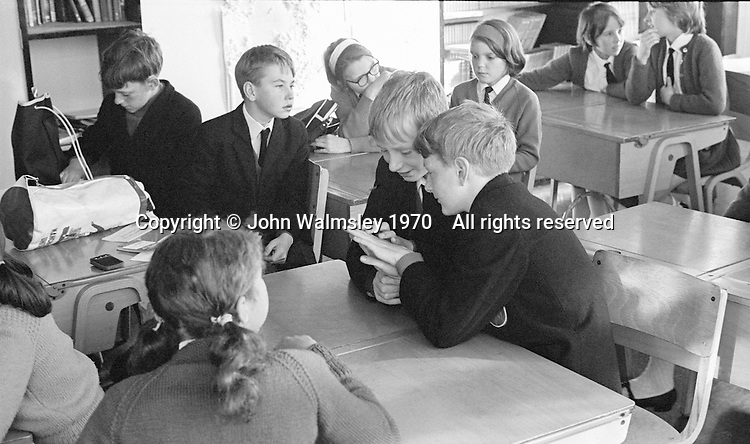 Awaiting the morning register, Whitworth Comprehensive School, Whitworth, Lancashire.  1970.