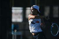Heritage's Stella de Vera hits, Monday, October 11, 2021 during the 6A state girls and boys tennis tournament at Memorial Park in Bentonville. Check out nwaonline.com/211012Daily/ for today's photo gallery. <br /> (NWA Democrat-Gazette/Charlie Kaijo)
