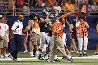 SAN ANTONIO, TX - SEPTEMBER 3, 2011: The Northeastern State UNiversity RiverHawks vs. the University of Texas at San Antonio Roadrunners in the Inaugural Game of the UTSA Football program at the Alamodome. (Photo by Jeff Huehn)