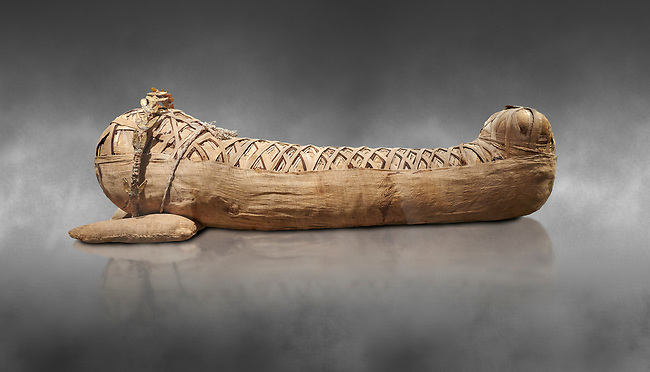 Ancient Egyptian mummy of the Roman Period - 1st cent BC to 2 cent AD. Egyptian Museum, Turin. grey background