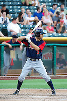 Chris Taylor (3) of the Tacoma Rainiers at bat against the Salt Lake Bees in Pacific Coast League action at Smith's Ballpark on July 9, 2014 in Salt Lake City, Utah.  (Stephen Smith/Four Seam Images)