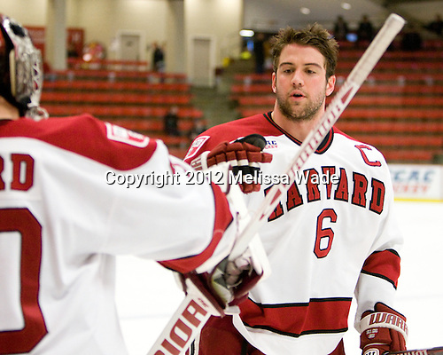 Ryan Grimshaw (Harvard - 6) - The Harvard University Crimson defeated the visiting Yale University Bulldogs 8-2 in the third game of their ECAC Quarterfinal matchup on Sunday, March 11, 2012, at Bright Hockey Center in Cambridge, Massachusetts.