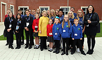 Pictured: Hillary Clinton poses with young pupils from Narberth, Pentrehafod and Blaen-y-maes Primary Schools, at Swansea University Bay Campus. Saturday 14 October 2017<br />Re: Hillary Clinton, the former US secretary of state and 2016 American presidential candidate will be presented with an honorary doctorate during a ceremony at Swansea University's Bay Campus in Wales, UK, to recognise her commitment to promoting the rights of families and children around the world.<br />Mrs Clinton's great grandparents were from south Wales.