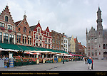 Restaurants and Neogothic Ministry of Public Works, Market Square, Bruges, Brugge, Belgium