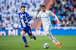 Theo Hernandez (R) of Real Madrid fights for the ball with Alvaro Medran of Deportivo Alaves during the La Liga 2017-18 match between Real Madrid and Deportivo Alaves at Santiago Bernabeu Stadium on February 24 2018 in Madrid, Spain. Photo by Diego Souto / Power Sport Images