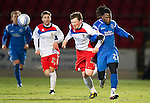 St Johnstone v Inverness Caley Thistle....02.01.11  .Collin Samuel is foluled by Shane Sutherland, Sutherland was booked for the offence.Picture by Graeme Hart..Copyright Perthshire Picture Agency.Tel: 01738 623350  Mobile: 07990 594431
