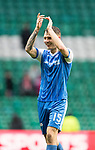 Celtic v St Johnstone…18.02.18…   Celtic Park    SPFL<br />A happy Jason Kerr applauds the travelling fans at full time<br />Picture by Graeme Hart. <br />Copyright Perthshire Picture Agency<br />Tel: 01738 623350  Mobile: 07990 594431