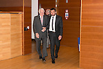 St Johnstone FC Hall of Fame Dinner, Perth Concert Hall….03.04.16<br />Callum Davidson escorts Hall of Fame Inductee Ron McKinven into the concert hall<br />Picture by Graeme Hart.<br />Copyright Perthshire Picture Agency<br />Tel: 01738 623350  Mobile: 07990 594431