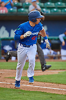 Jimmy Titus (40) of the Ogden Raptors hustles to first base against the Grand Junction Rockies at Lindquist Field on July 23, 2019 in Ogden, Utah. The Raptors defeated the Rockies 11-4. (Stephen Smith/Four Seam Images)