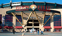 Ballparks: Anaheim, entrance to Edison International Field.Photo '99.