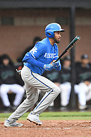 Left fielder Tristan Pompey (6) of the Kentucky Wildcats bats in a game in the rain against the University of South Carolina Upstate Spartans on Saturday, February 17, 2018, at Cleveland S. Harley Park in Spartanburg, South Carolina. Kentucky won, 6-5, in 10 innings. (Tom Priddy/Four Seam Images)