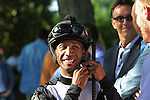 July 18, 2015: Kendrick Carmouche awaits his mount for the Delaware Handicap, Joint Return.Sheer Drama, Joe Bravo up, wins the Grade I Delaware Handicap, one and 1/4 miles for fillies and mares 3 and upward at Delaware Park in Stanton DE.  Trainer is David Fawkes, owner is Harold L. Queen. Joan Fairman Kanes/ESW/CSM