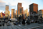 The buildings that survived the attacks of 9/11 now surround ground zero.  On 9/11/2006, they framed the area while silently witnessing the memorial.