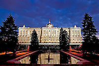 Royal Palace at night seen from the Sabatini Gardens, Madrid, Spain