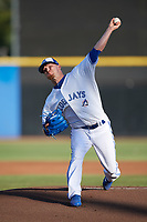 Toronto Blue Jays pitcher J.P. Howell (22), on rehab assignment with the Dunedin Blue Jays, delivers a pitch while warming up against the St. Lucie Mets on April 20, 2017 at Florida Auto Exchange Stadium in Dunedin, Florida.  Howell went one inning allowing one hit and striking out two.  Dunedin defeated St. Lucie 6-4.  (Mike Janes/Four Seam Images)