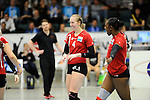 Rüsselsheim, Germany, April 13: Michelle Bartsch #4 of the Rote Raben Vilsbiburg celebrates after winning a point during play off Game 1 in the best of three series in the semifinal of the DVL (Deutsche Volleyball-Bundesliga Damen) season 2013/2014 between the VC Wiesbaden and the Rote Raben Vilsbiburg on April 13, 2014 at Grosssporthalle in Rüsselsheim, Germany. Final score 0:3 (Photo by Dirk Markgraf / www.265-images.com) *** Local caption ***