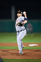 Salt River Rafters pitcher Spencer Turnbull (27), of the Detroit Tigers organization, during a game against the Scottsdale Scorpions on October 20, 2016 at Scottsdale Stadium in Scottsdale, Arizona.  Scottsdale defeated Salt River 4-1.  (Mike Janes/Four Seam Images)